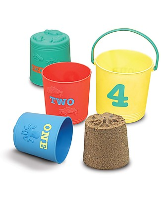 Melissa & Doug Seaside Sidekicks Nesting Pails Sand Toys, Set of 4 - Learn numbers and animals through play! Beach Toys