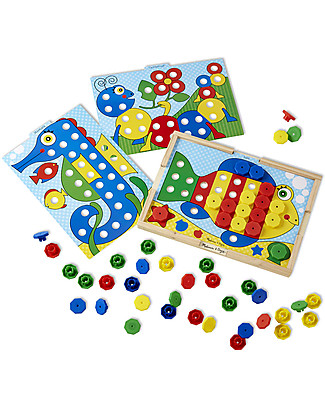 Melissa & Doug Sort and Snap Colour Match - Wooden case with 64 snap caps and 10 reversible picture cards! Wooden Stacking Toys