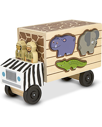 Melissa & Doug Wooden Animal Rescue Shape-Sorting Truck - 10 Pieces Wooden Toy Cars, Trains & Trucks
