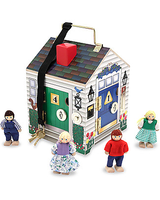 Melissa & Doug Wooden Doorbell House - Includes 4 characters and working keys! Figures & Playsets