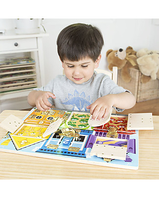 Melissa & Doug Wooden Latches Board - Teaches numbers, colours, animals, dexterity! Puzzles