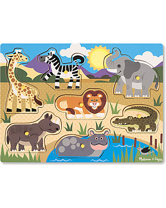 Melissa & Doug Wooden Peg Puzzle, Safari - 7 pieces! Puzzles