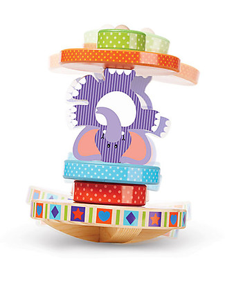 Melissa & Doug Wooden Rocking Elephant - 6 Pieces Wooden Stacking Toys