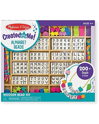 Melissa & Doug Wooden Stringing Beads - With loads of letters! Creative Toys