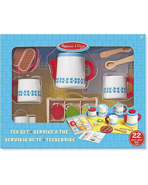 Melissa & Doug Wooden Tea Set, 22 pieces - Great gift idea! Traditional Toys