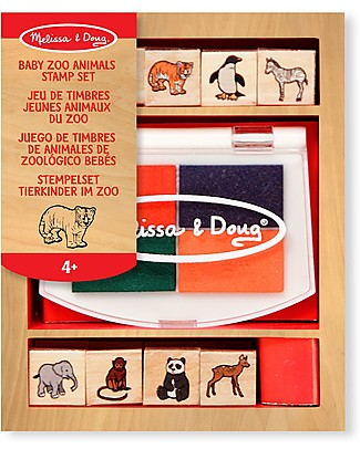Melissa & Doug Baby Zoo Animals Wooden Stamp Set - 8 stamps set Stickers & Stamps Sets