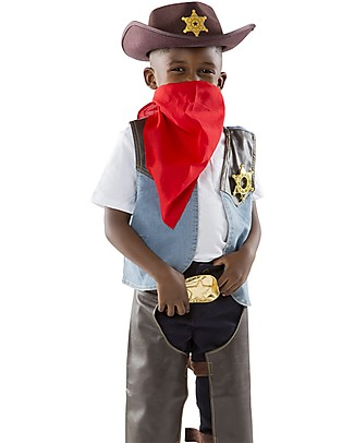 Melissa & Doug Cowboy Role Play Costume Set - Perfect for Fancy Dress Parties - Hat, Bandanna and Badge Included! Dressing Up & Role Play