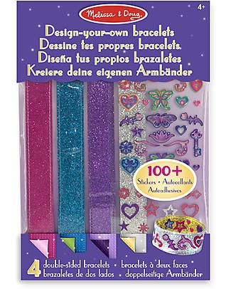 Melissa & Doug Design-Your-Own Bracelets - 4 Bracelets and 100+ Stickers Art & Craft Kits
