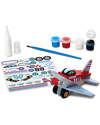 Melissa & Doug DIY Plane, To Build and Paint - With stickers and paint included! Wooden Toy Cars, Trains & Trucks