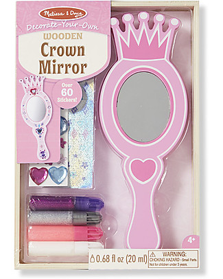 Melissa & Doug DIY Wooden Crown Mirror - Includes glitter glue and stickers! Creative Toys