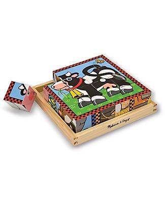 Melissa & Doug Farm Cube Puzzle - 16 Wooden Cubes Puzzles