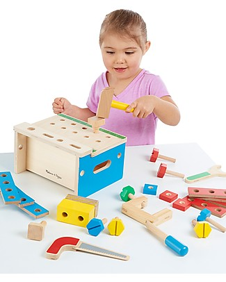Melissa & Doug Hammer & Saw Tool Bench, 32 Pieces - Perfect gift idea! Wooden Toy Tools