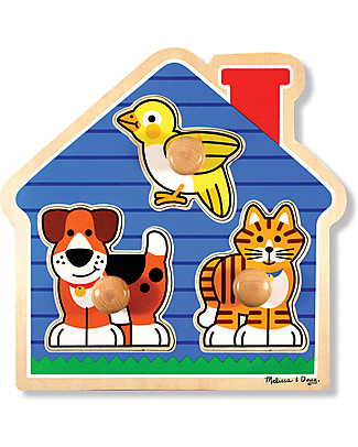 Melissa & Doug House Pets Large Peg Puzzle - 3 Pieces Puzzles