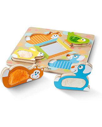 Melissa & Doug Peek-a-Boo Touch & Feel Puzzle with Mirror Wooden Stacking Toys