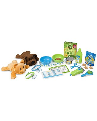 Melissa & Doug Pet Care Play Set Feeding & Grooming - With 24 pieces including plush cat and dog! Story Making Games