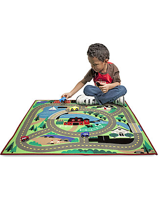 Melissa & Doug Play Rug, Around the City, 100 x 90 cm - Includes 4 wooden cars! Playmats