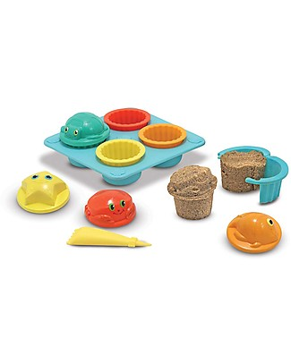 Melissa & Doug Seaside Sidekicks Sand Cupcake Set, 12 pieces - Great gift idea! Beach Toys