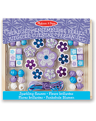 Melissa & Doug Sparkling Flowers Wooden Bead Set - 45+ Pieces Art & Craft Kits