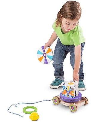 Melissa & Doug Unit Block on Wheels – Carousel Pull toy on Cart! Wooden Blocks & Construction Sets