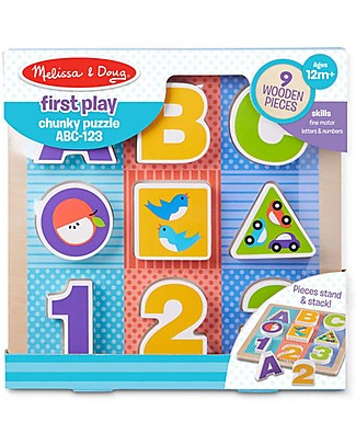 Melissa & Doug Wooden abc-123 Chunky Puzzle - Firts Play Wooden Stacking Toys