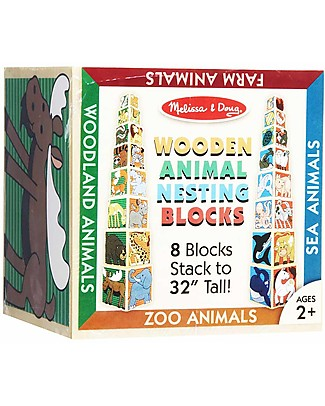 Melissa & Doug Wooden Animal Nesting Block – Up to 90 cm tall! Wooden Blocks & Construction Sets