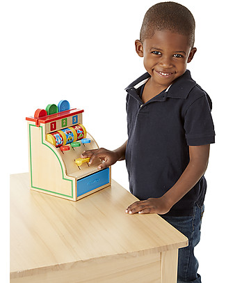 Melissa & Doug Wooden Cash Register – Ideal to learn numbers and colours! Story Making Games