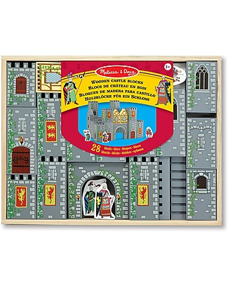 Melissa & Doug Wooden Castle Blocks Play Set, 28 pieces with box - Great gift idea! Story Making Games