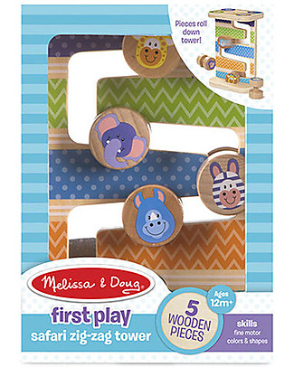 Melissa & Doug Wooden Safari Zig-Zag Tower - 5 Pieces Wooden Stacking Toys