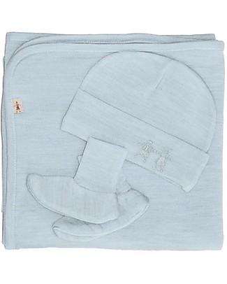 Merino Kids Cocooi™ Blanket, Beanie and Booties Set - Turtle Dove - 100% Natural Merino Wool (perfect newborn gift!) Blankets