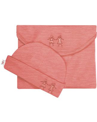 Merino Kids Cocooi ™ Swaddle and Beanie Hat Set Raspberry - 100% Natural Merino Wool Swaddles