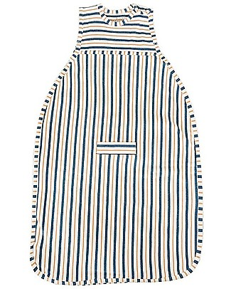 Merino Kids Go Go Bag Duvet Weight (2-4 YO)- Wildflower Collection - Navy Blue & Tangeriney - 100% Natural Merino Wool and Organic Cotton Warm Sleeping Bags