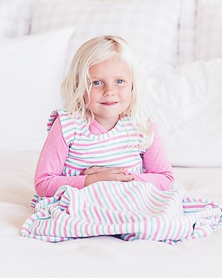 Merino Kids Go Go Bag Duvet Weight (2-4 YO) - Wildflower Collection - Pink & Aqua - 100% Natural Merino Wool and Organic Cotton Warm Sleeping Bags