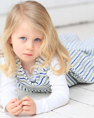 Merino Kids Go Go Bag Duvet Weight Banbury & Mint (2-4 years) - 100% Natural Merino Wool and Organic Cotton Warm Sleeping Bags