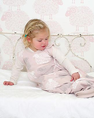 Merino Kids Go Go Bag - Sleeping Bag, Light Pink/Stack Sheeps - 0-2 years - 100% merino wool and organic cotton Warm Sleeping Bags