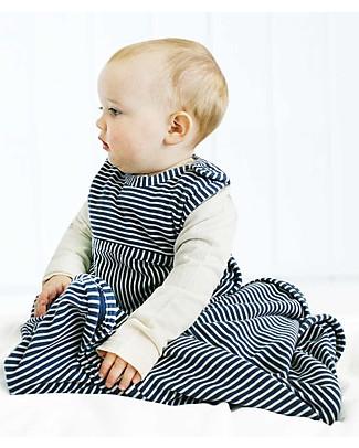 Merino Kids Go Go Bag - Sleeping Bag - Navy Stripe (Newborn to 2 Yrs) - 100% Natural Merino Wool and Organic Cotton Warm Sleeping Bags