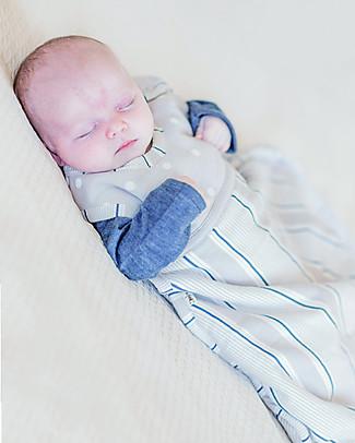Merino Kids Go Go Bag Winter Weight Gray and Navy (newborn to 2 years) - 100% Natural Merino Wool and Organic Cotton Warm Sleeping Bags