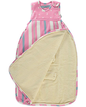 Merino Kids Go Go Bag Winter Weight, Light Pink (0-2 years) - 100% Natural Merino Wool and Organic Cotton Warm Sleeping Bags