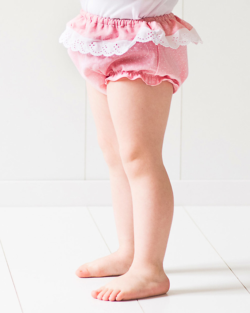 1fa636ac69f4 Mia Bu Milano Girl's Bloomer with Broderie Anglaise Frill, Pink&Dots - Come  in a gift