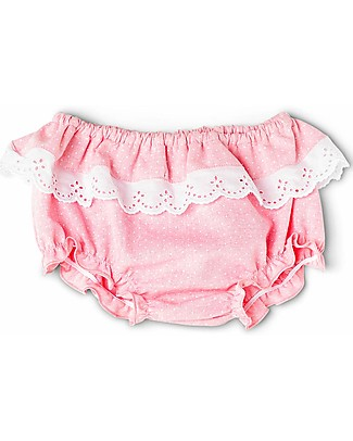 Mia Bu Milano Girl's Bloomer with Broderie Anglaise Frill, Pink&Dots - Come in a gift box with a fairy tale included! Swimming Trunks