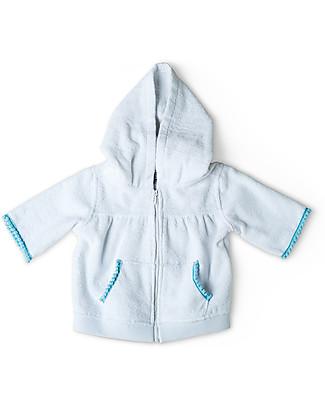 Mia Bu Milano Girl's Hooded Jumper with Pompoms, White - 100% cotton Sweatshirts