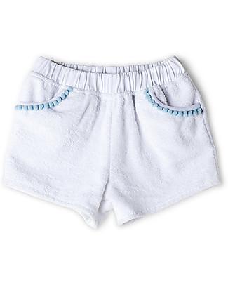 Mia Bu Milano Girl's Shorts with Pompoms, White - 100% cotton Shorts