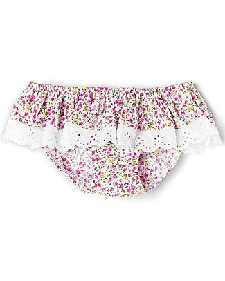Mia Bu Milano Girl's Swim Pants with Broderie Anglaise Frill, Flowers – Come in a gift box with a fairy tale included! Swimming Trunks