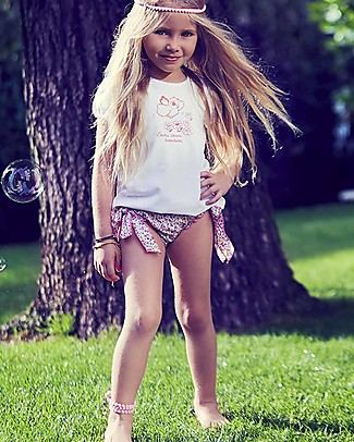 Mia Bu Milano Girl's Swim Pants with Strings, Flowers - Come in a gift box with a fairy tale included! Swimming Trunks