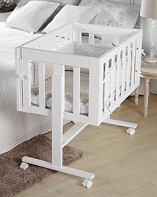 Micuna 2-in-1 Co-Sleeping Cododo Cot, Beech Wood, White – It becomes a desk! Co-Sleeping Cribs
