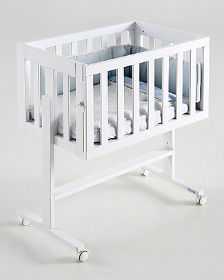 Micuna 2-in-1 Co-Sleeping Cododo Cot, Beech Wood, White - It becomes a desk! Co-Sleeping Cribs