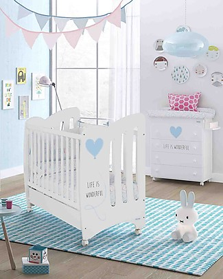 Micuna Beech Wood Cot Wonderful, White/Blue - Can be turned into a twin cot! Co-Sleeping Cribs