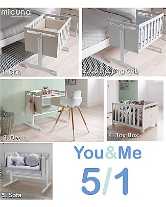Micuna Mini-Cradle and Co-Sleeping You&Me, Sand - It becomes Desk or Sofa Co-Sleeping Cribs