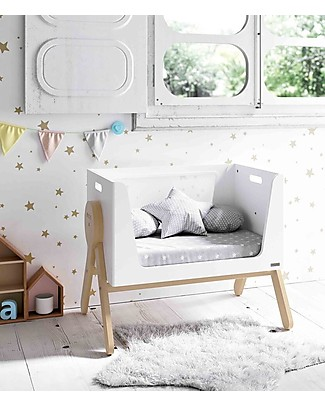Micuna Mini Swing Cradle, Beech Wood, White - It becomes Desk or Sofa! Cribs & Moses Baskets