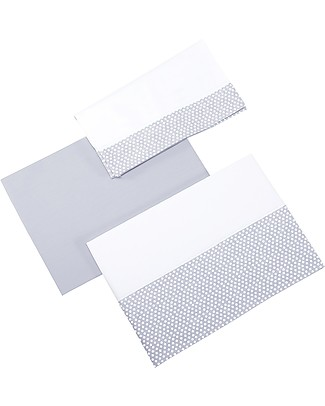 Micuna Set: Bottom Sheet, Top Sheet and Pillow Cover for You&Me Cradle, Grey Bed Sheets