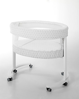 Micuna Textile Set for Smart Fresh Cot, Grey Polka Dots – Breathable and hypoallergenic! Cribs & Moses Baskets